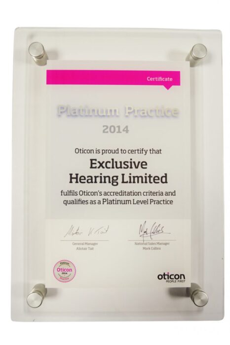 Oticon Platinum Award