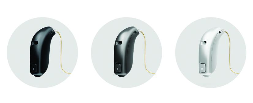 3 Oticon OPN hearing aids in circles